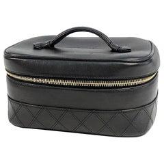 CHANEL bicolore Vanity side type Womens handbag black x gold hardware