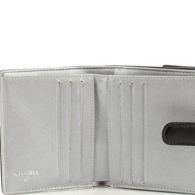 Women's or Men's Chanel Bifold Wallet Camellia Lambskin Compact For Sale