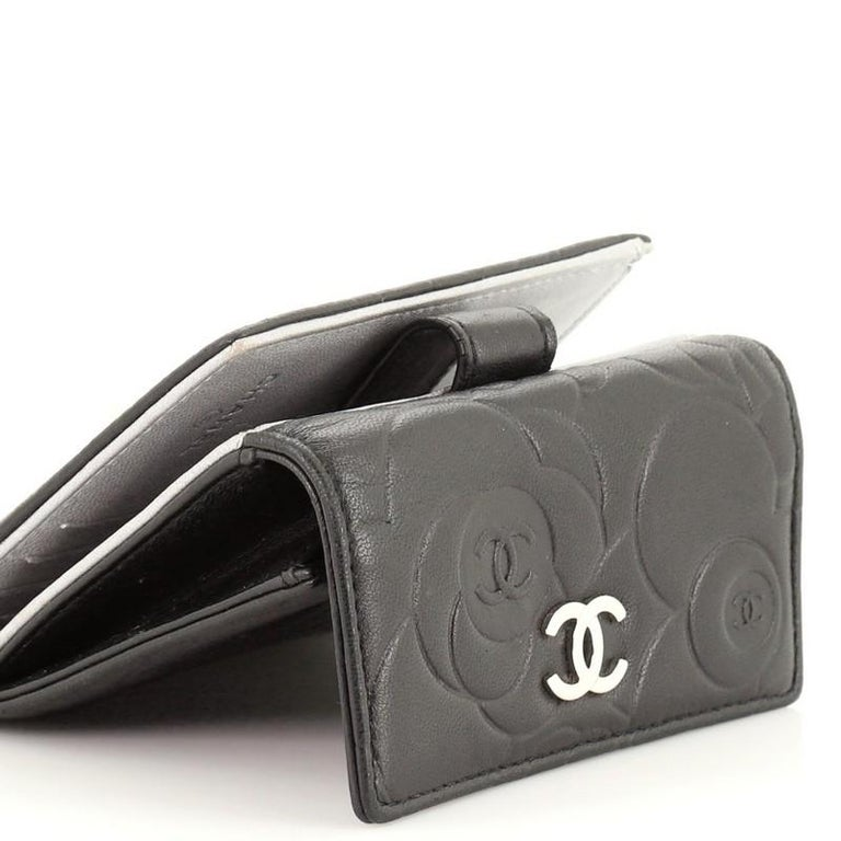 Chanel Bifold Wallet Camellia Lambskin Compact For Sale 2