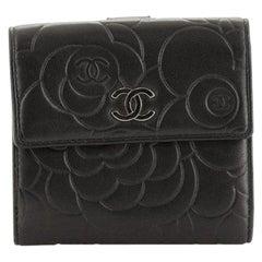 Chanel Bifold Wallet Camellia Lambskin Compact