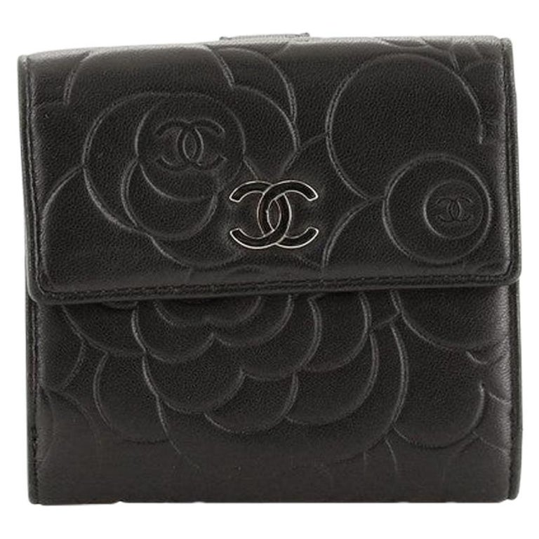 Chanel Bifold Wallet Camellia Lambskin Compact For Sale
