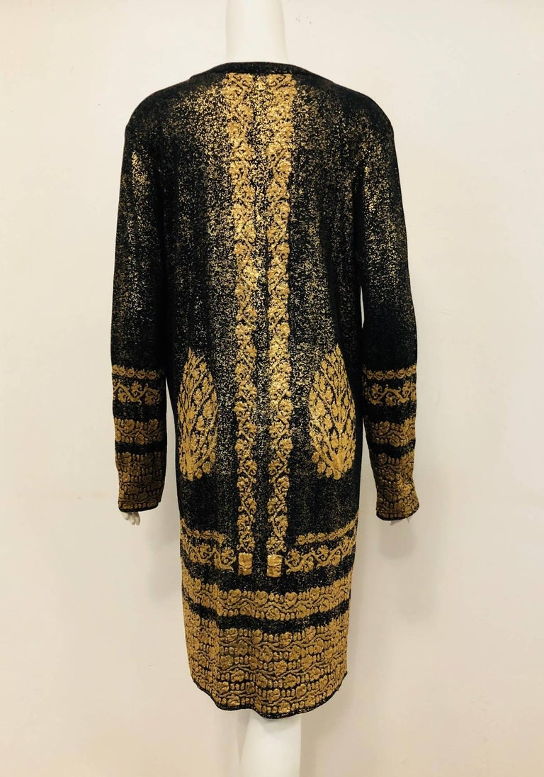 Chanel Black & Gold Tone Cotton Knit Jacquard  Print  Long Sleeve Dress In Excellent Condition For Sale In Palm Beach, FL
