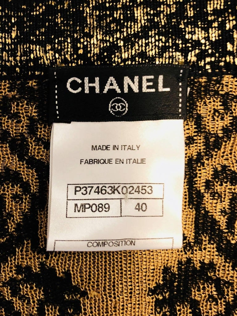 Chanel Black & Gold Tone Cotton Knit Jacquard  Print  Long Sleeve Dress For Sale 2
