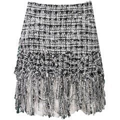 Chanel Black & White Tweed Fringe Skirt Sz FR40