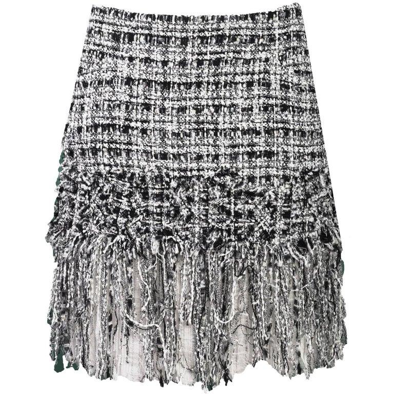 Chanel Black White Tweed Fringe Skirt Sz Fr40 For