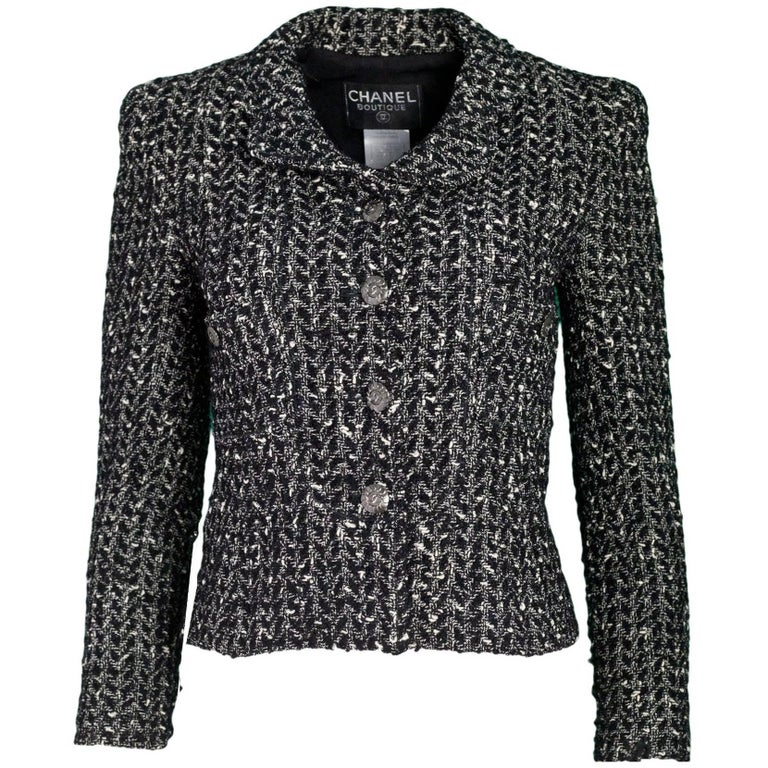 Chanel Black White Wool Tweed Jacket Sz Fr34 For
