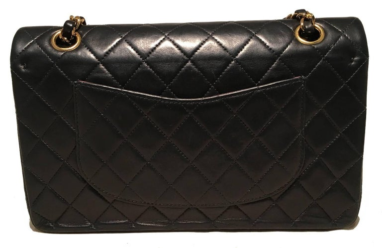 23bc9316b06f Chanel Black 10inch 2.55 Double Flap Classic Shoulder Bag In Good Condition  For Sale In Philadelphia