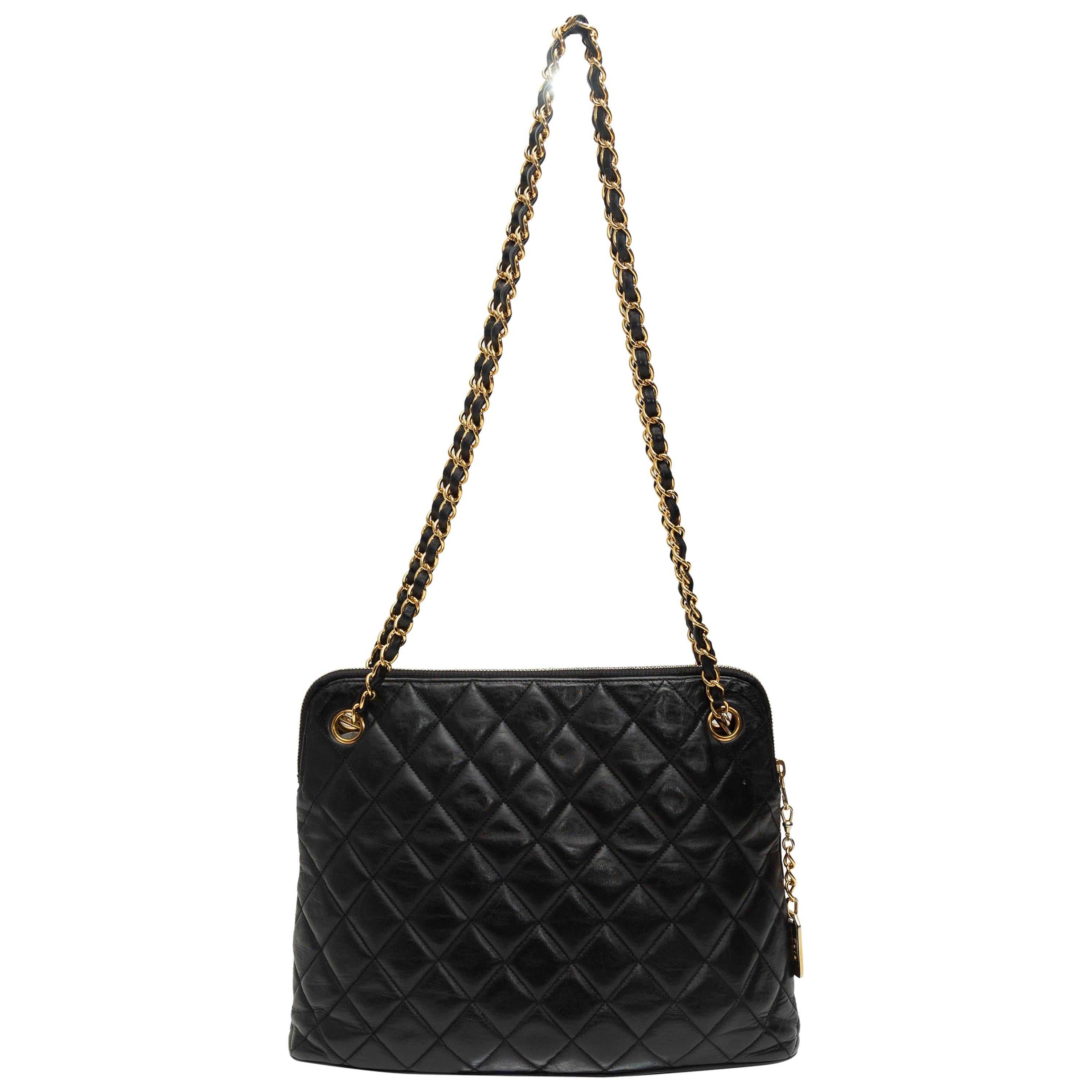 Chanel Black 1980s Quilted Leather Bag