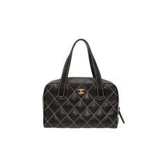 Chanel Black 2003/2004 Suprique Leather Bowler Bag