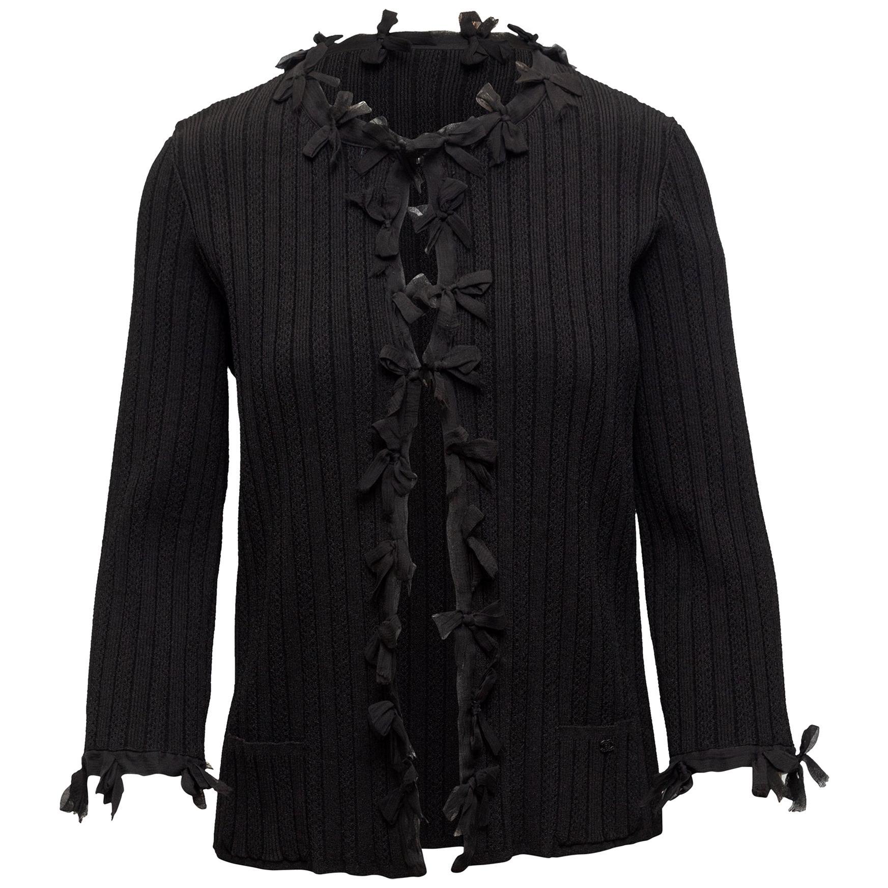 Chanel Black 2006 Rib Knit Bow Cardigan