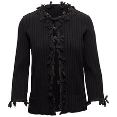 Chanel Black 2006 Rib Knit Bow Cardigan