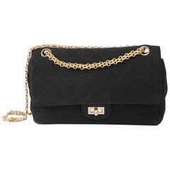 Chanel Black 2.55 Double Flap Shoulder Quilted Jersey Bag