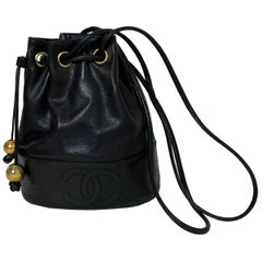 Chanel Black '90s Vintage Caviar Leather CC Vintage Bucket Bag