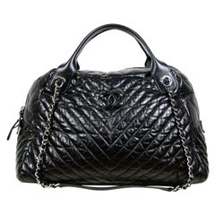 Chanel Black Aged Calfskin Leather Chevron Large Soft Bowling Bag rt. $4,200