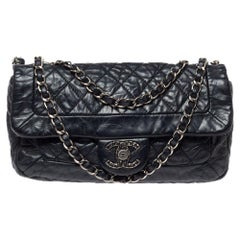 Chanel Black Aged Quilted Leather CC Classic Single Flap Bag