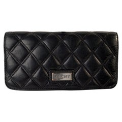 Chanel Black Aged Quilted Leather New York PNY Continental Wallet