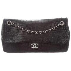 Chanel Black Alligator Exotic Leather Silver Extra Large Shoulder Flap Bag