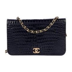 Chanel Black Alligator Leather Exotic Leather Gold Small WOC Shoulder Flap Bag