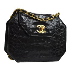 Chanel Black Alligator Leather Gold 2 in 1 Mini Evening Clutch Shoulder Flap Bag