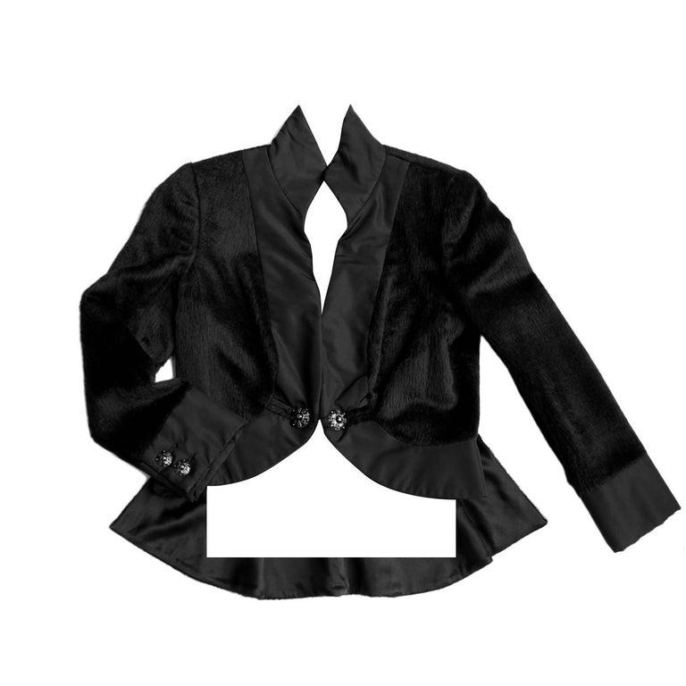 Chanel Black Alpaca Short Tuxedo Jacket