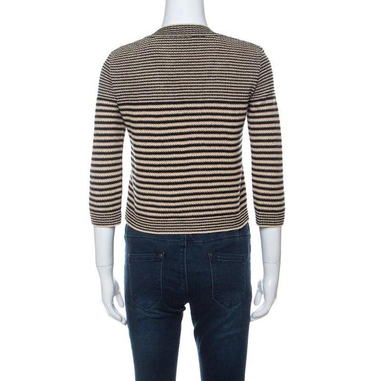 Chanel Black and Beige Striped Pattern Crochet Knit Silk Blend Cardigan S In Good Condition For Sale In Dubai, Al Qouz 2