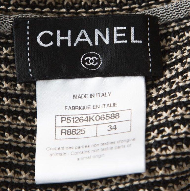 Chanel Black and Beige Striped Pattern Crochet Knit Silk Blend Cardigan S For Sale 1
