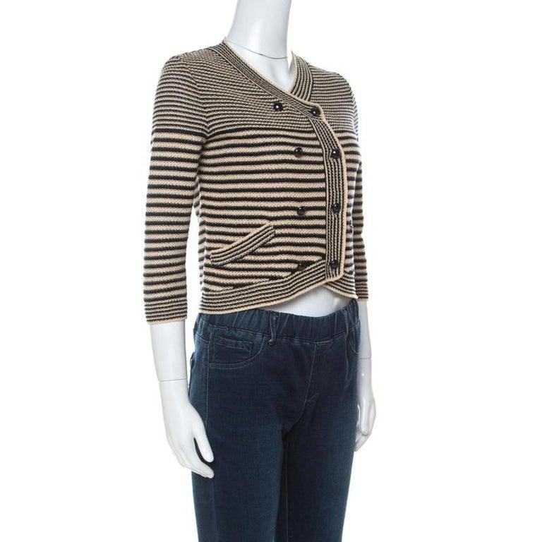 Chanel Black and Beige Striped Pattern Crochet Knit Silk Blend Cardigan S For Sale 2