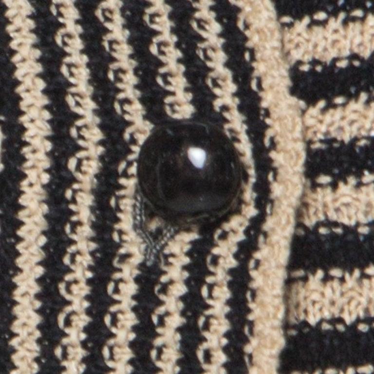 Chanel Black and Beige Striped Pattern Crochet Knit Silk Blend Cardigan S For Sale 3