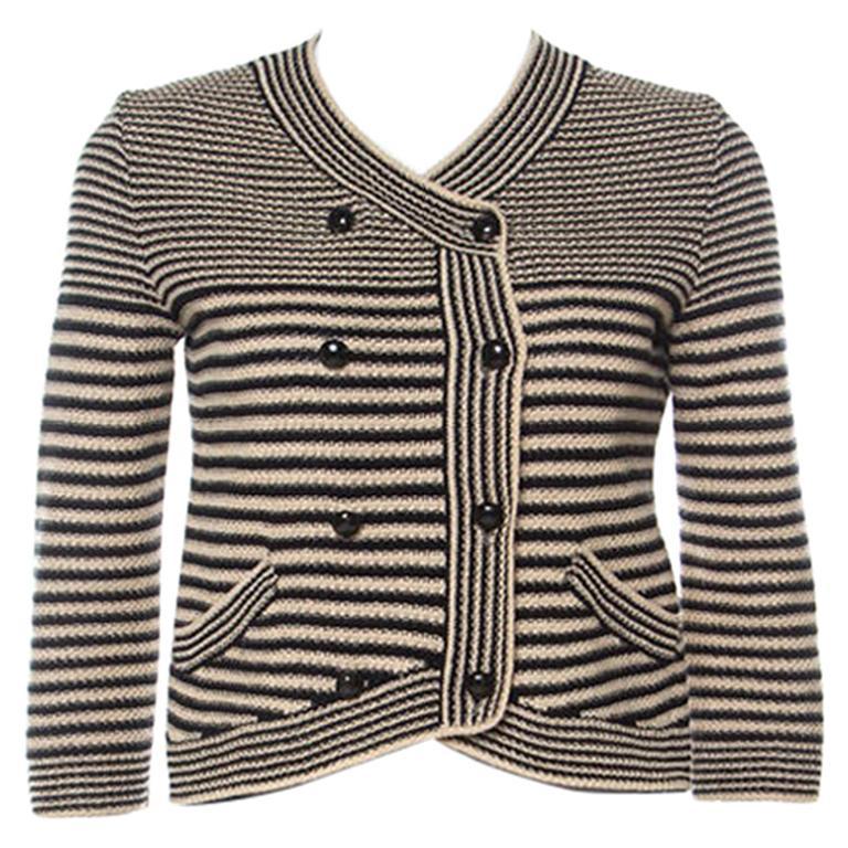 Chanel Black and Beige Striped Pattern Crochet Knit Silk Blend Cardigan S For Sale