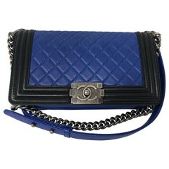 Chanel Black and Blue Boy Bag