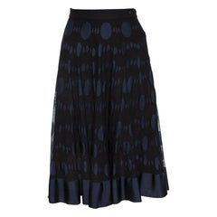 Chanel Black and Blue Cotton Blend Jacquard A Line Midi Skirt L