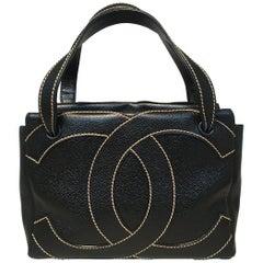 Chanel Black and Cream CC Logo Caviar Leather Handbag