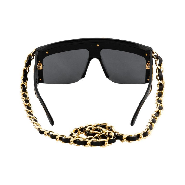 Chanel Black and Gold Rare Vintage Runway Chain Sunglasses For Sale 1