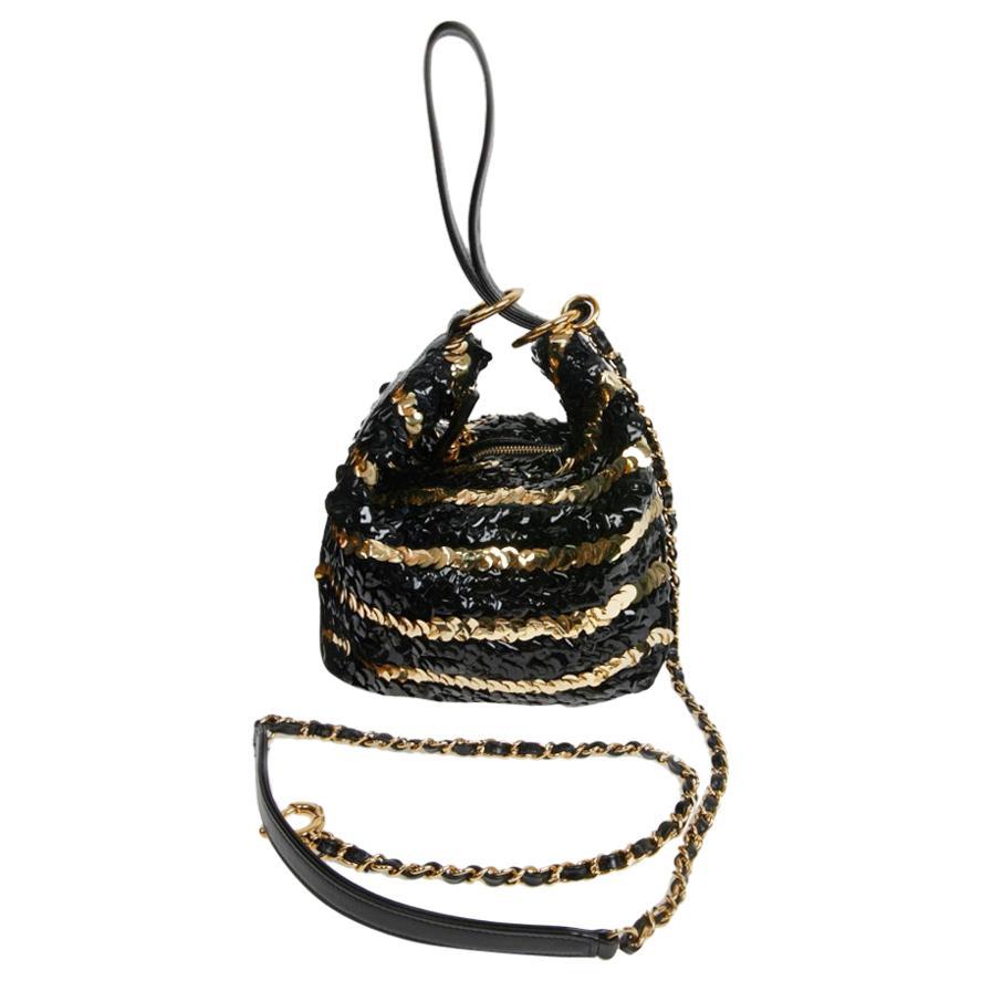 Chanel Black and Gold Sequins Bag