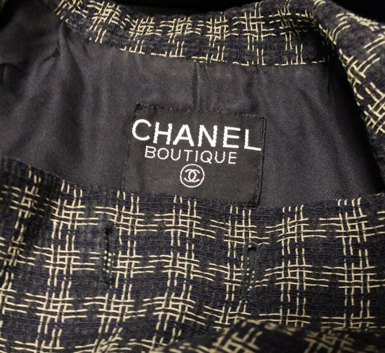 Chanel Black and Gold Tone Check Cropped Jacket In Excellent Condition For Sale In Palm Beach, FL