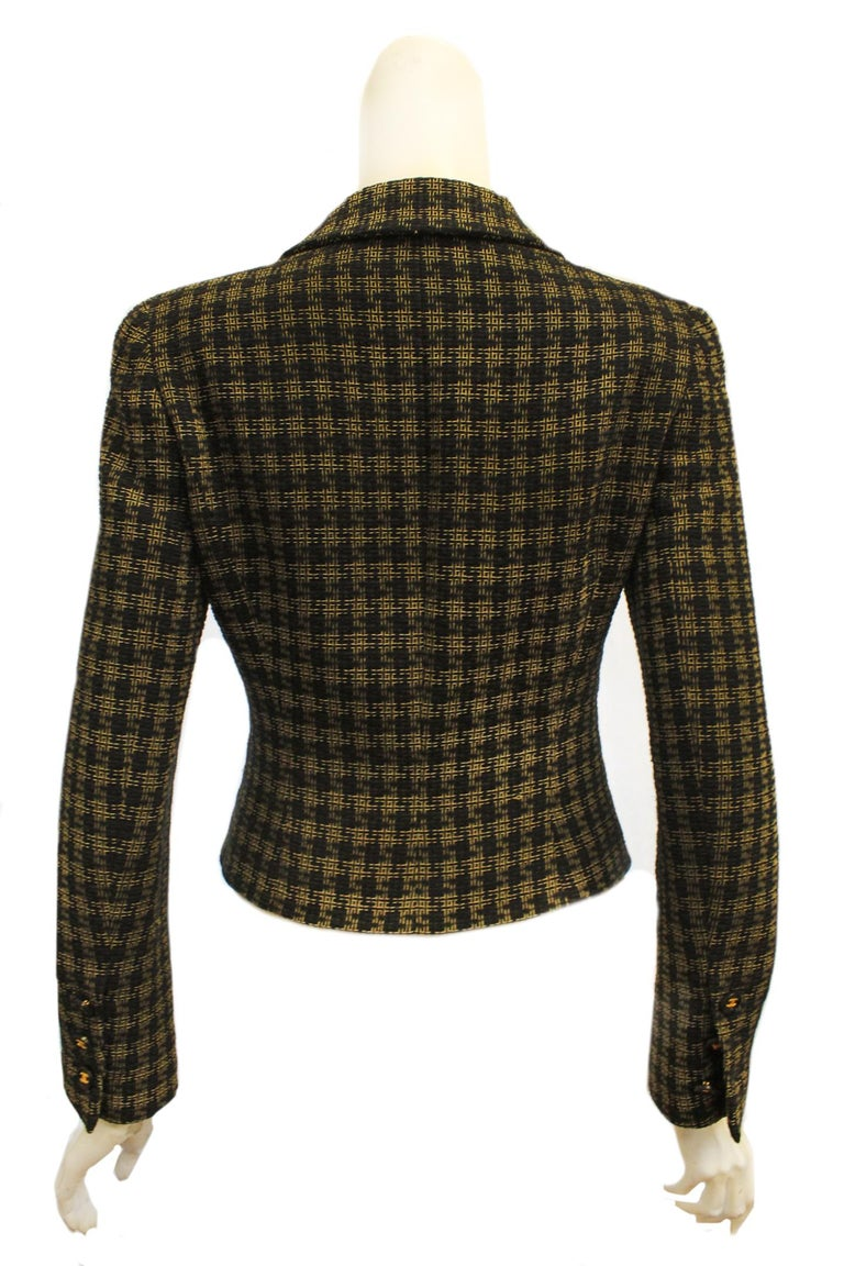Women's Chanel Black and Gold Tone Check Cropped Jacket For Sale