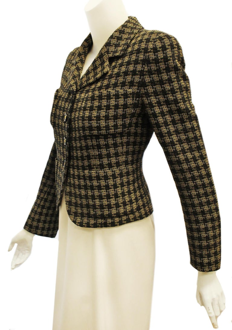 Chanel Black and Gold Tone Check Cropped Jacket For Sale 1