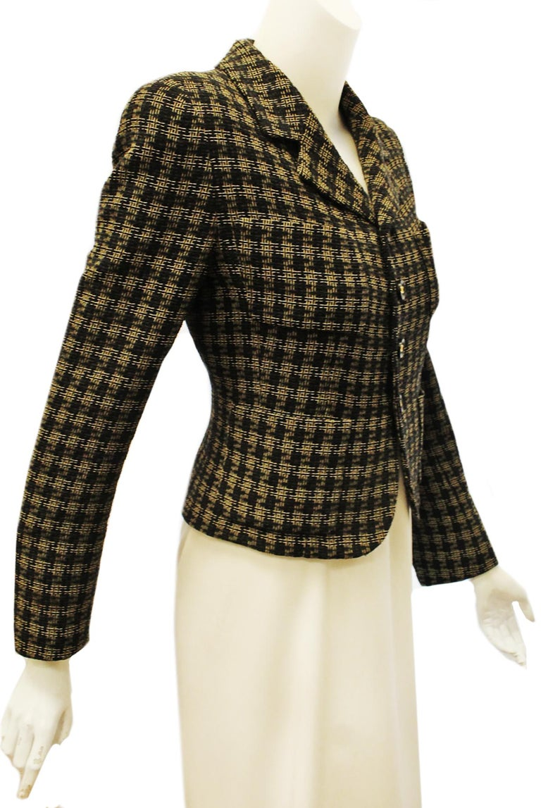 Chanel Black and Gold Tone Check Cropped Jacket For Sale 2