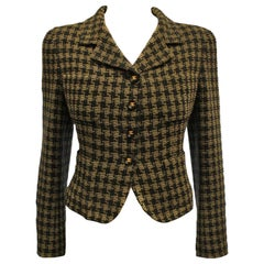 Chanel Black and Gold Tone Check Cropped Jacket