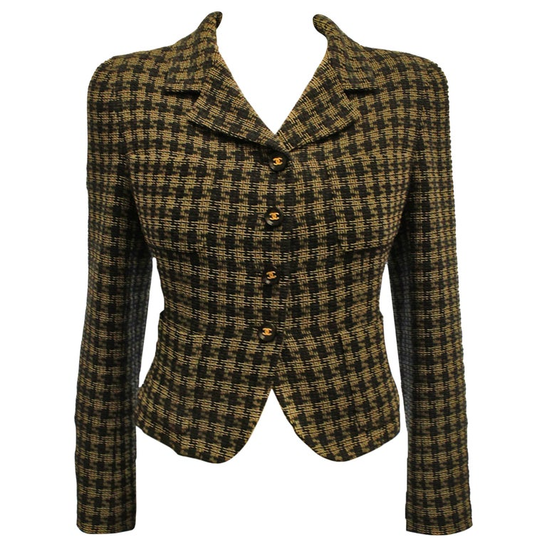 Chanel Black and Gold Tone Check Cropped Jacket For Sale