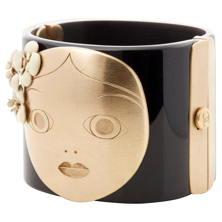 Chanel Black and Gold Tone Matryoshka Doll Cuff Bracelet For Sale