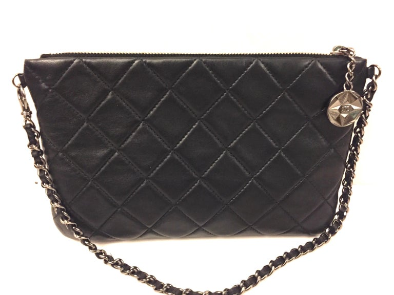 Brown Chanel black and gold wallet/clutch with leather chain strap For Sale