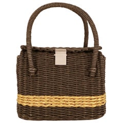 Chanel Black and Gold Wicker Basket Bag