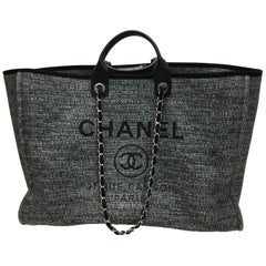 Chanel Black and Gray Grand Deauville Tote