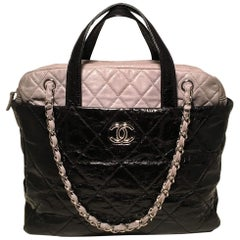 Chanel Black and Grey Leather Top Handle Coco Shoulder Bag Tote
