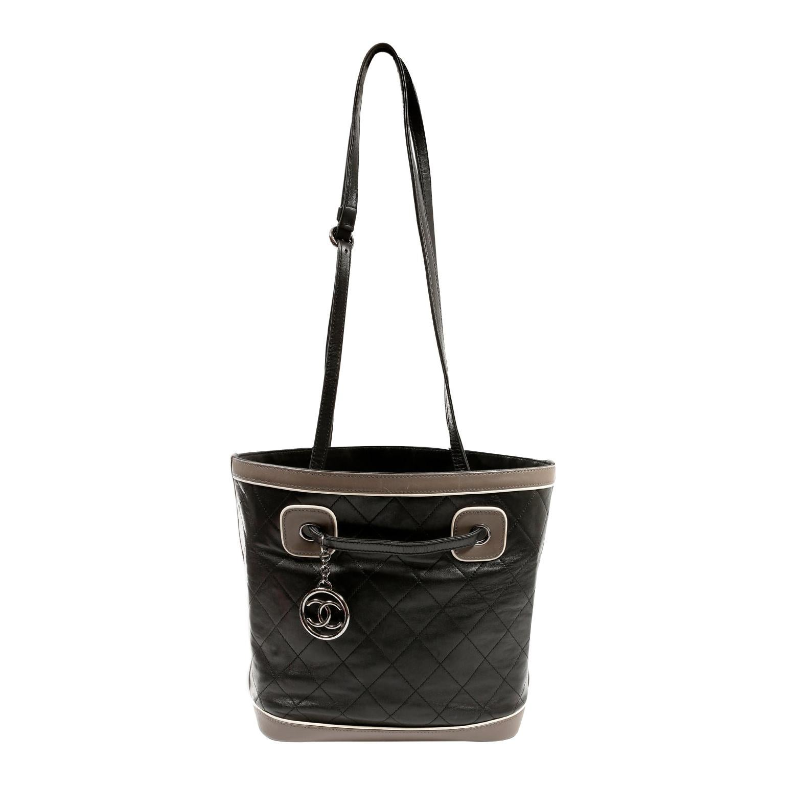 Chanel Black and Grey Quilted Leather Bucket Tote