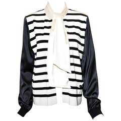 Chanel Black and Ivory Cashmere Striped Jacket With Attached Scarf 2005 Spring
