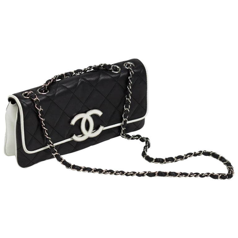 Chanel Black and White Cruise Logo Accordion Jumbo Classic Flap Bag  For Sale