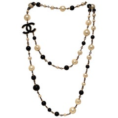 Chanel Black and Pearl Beaded Necklace