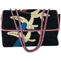 Chanel Black and Pink Cottton Flap Bag